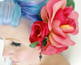 Triple Pink Rose Hair Flower with Buds