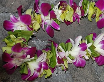 Fresh Purple Orchid and Fragrant Tuberose Lei