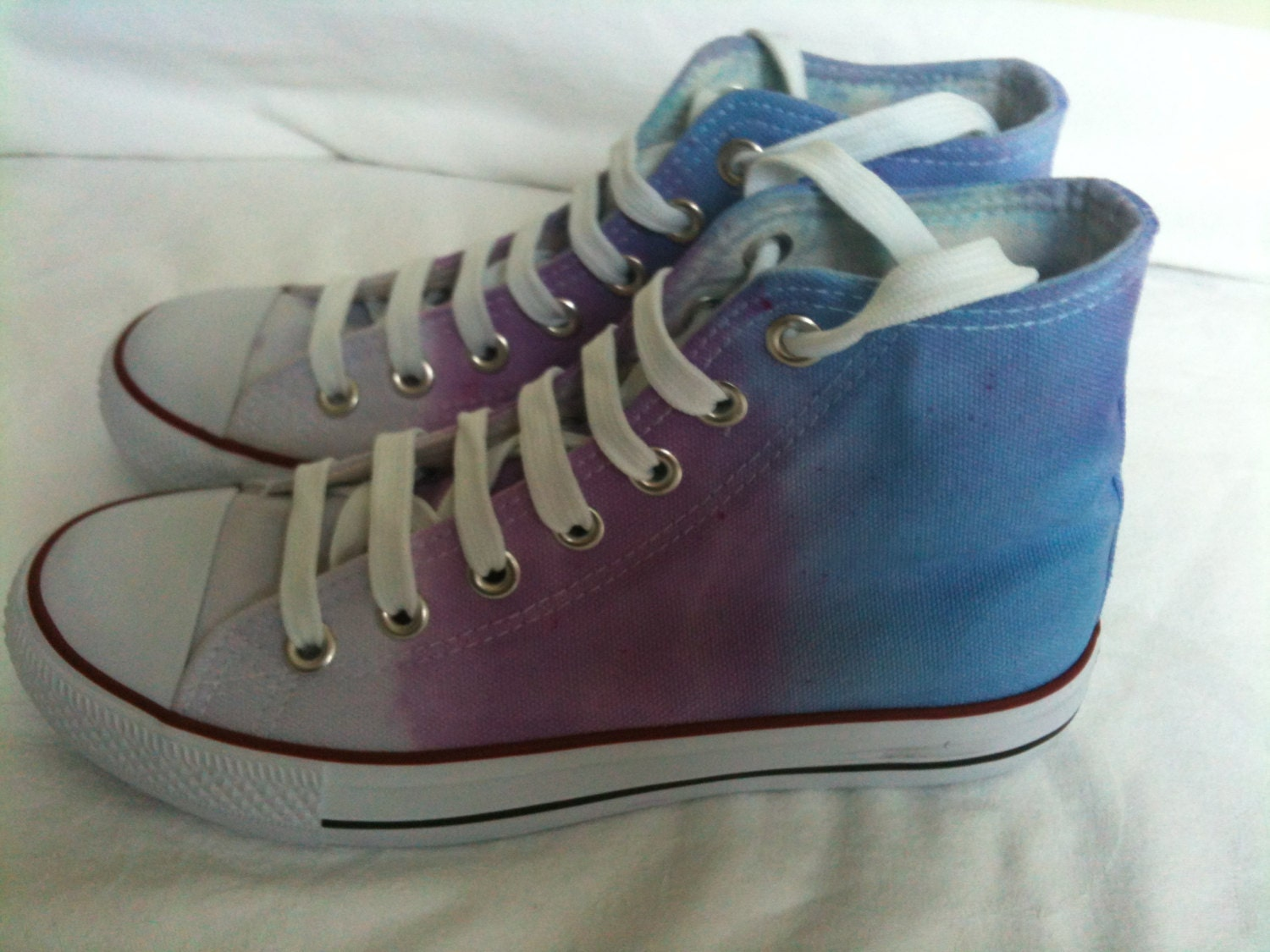 s purple tie dye canvas shoes hi tops base by
