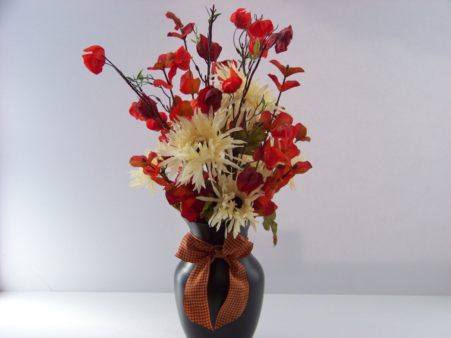 artificial autumn fall flower vase centerpiece with silk. Black Bedroom Furniture Sets. Home Design Ideas