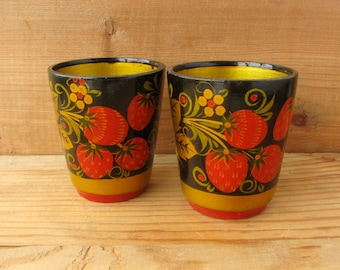 Khokhloma wooden cups, Set of 2, Bowl, Russian folk art, Home Decor, Kitchen utensil, Hand Painted Wooden Cup, Made in Russia, 1980s