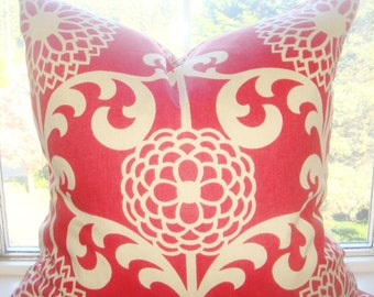 """Red And Off White Floral Print - 20""""x20""""-Fun Floret  Berry Pillow Cover-Cushion Cover"""