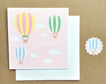 Baby Shower card, Hot Air Balloons