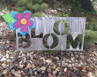 Metal Garden Art Yard Sign with Pink, Purple and Blue Flower with Word Bloom