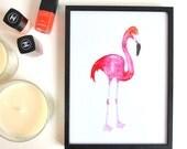 Roze waterverf flamingo poster
