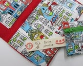 custom handmade fabric wallet with cash, credit card, and coin pockets and matching coin purse set
