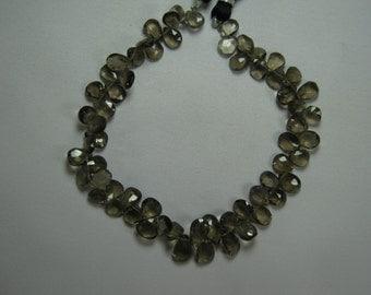 Pear Smoky Quartz Briolette Beads