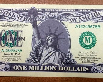 One Million Dollar Novelty FAKE Bill