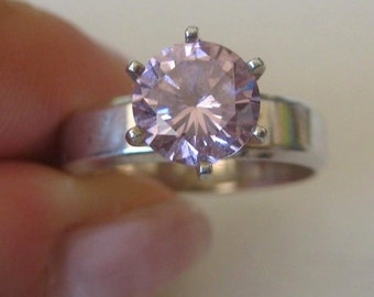 Clear pink CZ vintage sterling silver ring, size 8.5