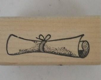 Graduation Scroll Rubber Stamp - 117M01