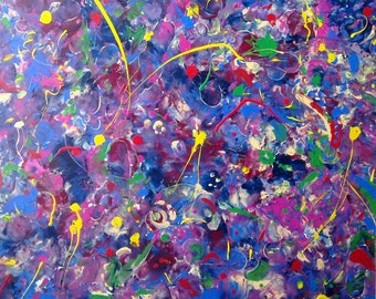 """Original Canvas Acrylic Painting -""""Purple Delight or a Tread of the Commander"""" - Abstract -  Ready To Hang - One of a kind"""
