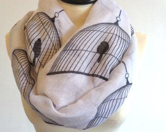 Print infinity scarf, circle scarf, bird scarf, print scarf women, loop scarf, white scarf