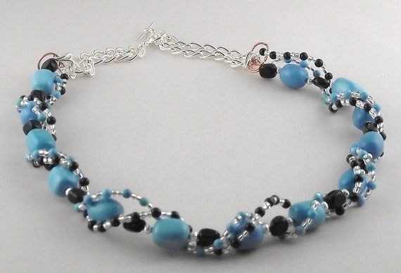 Turquoise, Agate, and Mixed Metals Necklace