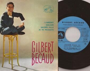 "Gilbert Becaud, French Singer Song Writer, 7"" Record, Vintage Record Album, Vinyl LP, French Folk Music"
