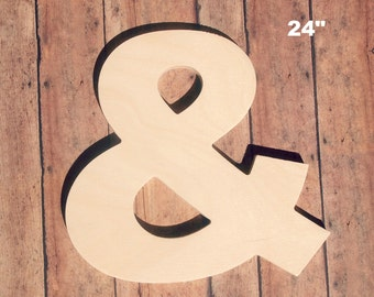 "Unfinished 24"" Decorative Wooden Letter / Ampersand 24 Inch Symbol / Nursery Wall Craft / Alphabet Photo Prop / Baltic Birch Wood"