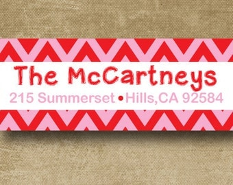 Red Chevron Mailing Labels, Personalized Address Labels, Chevron Mailing Stickers, Family Address Labels, Custom Return Address, envelope
