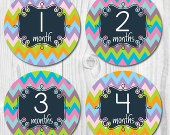 Chevron Baby Monthly Stickers, Baby Stickers, Monthly Baby Stickers, Pastel Chevron Sticker, Monthly Baby Stickers Girls, Milestone Stickers