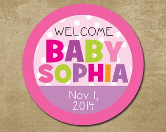 Baby Girl Shower Stickers, Personalized Baby Shower Stickers, Baby Shower Invites, Shower Favor Stickers, Baby Shower Favors