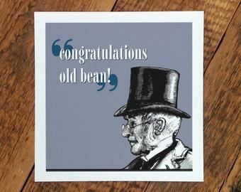 Congratulations Card; 'Congratulations Old Bean!'; Congrats Card; Card For Him; His College Graduation; New Job Card For Him; GC217