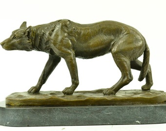 Pure bronze on marble base dire wolf figurine wildlife sculpture statue barye tribute animal - Dire wolf bookends ...