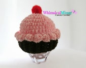 Crochet Baby Pink Cupcake Hat, Infant Photo Prop