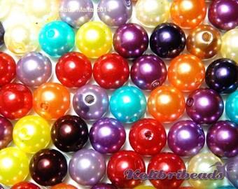 100x Round Acrylic Imitation Pearls 10 mm - Mixed Colours