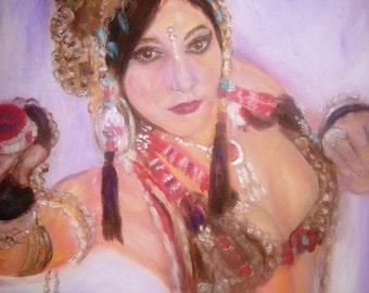 "Tribal Belly Dancer, Rachel Brice. Giclee Print on matt Canvas 11"" x 8"" from my originalnal Oil Painting."