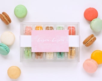"French Macaron ""Build-Your-Own"" 10 Assorted Edible Macarons-- Gift Boxed--Best French Macaron-- Bisou Bisou"