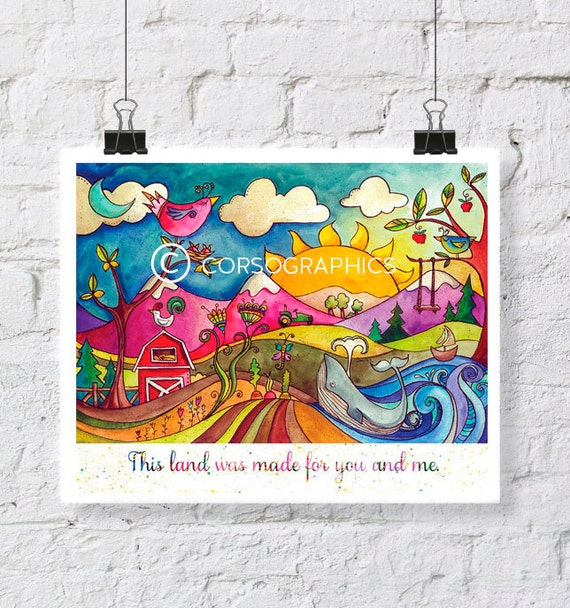 This land was made for you and me landscape painting watercolor artwork colorful nursery painting decor kids room art nature art pen and ink