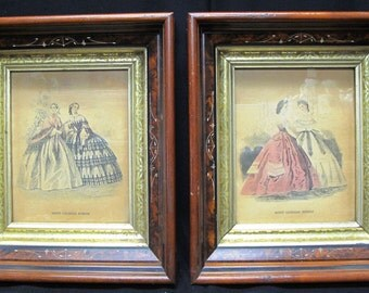 Two Godey American Fashion Pictures in Thick Antique Inlaid Wood Frames