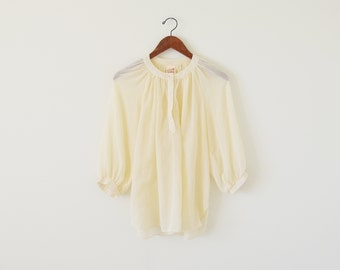 Vintage 70s blouse / ivory top / sheer blouse