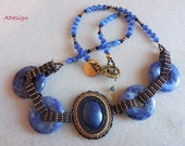 Blue sodalite necklace,bead  embroidery , bead weaving, for special occasions .