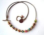 Mardi Gras (Mixed Impression) Jasper necklace. Gemstone necklace. Slide beads necklace. Mixed colors necklace