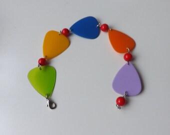 Handmade bracelet with colourful guitar pens