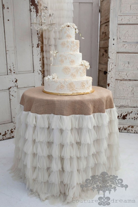 Chichi Ivory Petal And Jute Tablecloth, Tulle And Jute Tablecloth, Tulle  And Burlap Tablecloth, Wedding Tablecloth