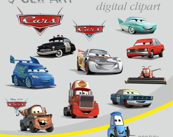 Disney CARS Digital Clipart Elements Set / 12 PNG/JPG/ For Personal and Commercial use/ Clip Art/ Instant Download