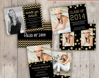 Set of 3 Graduation Photoshop Photo Card Templates for Photographers - Gold Glitter Graduate - editable PSD file