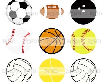 Sports Balls  - 1 inch bottlecap images - 4x6 sheet