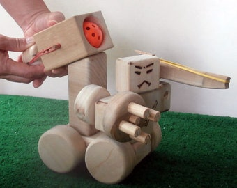 Wooden Gundam Style Robot Tank With Rubber Band Gun And