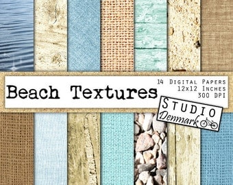 Beach Digital Paper - Beach Textures - Summer Backgrounds Commercial Use - Burlap / Wood / Water / Sand - Instant Download Wood Texture