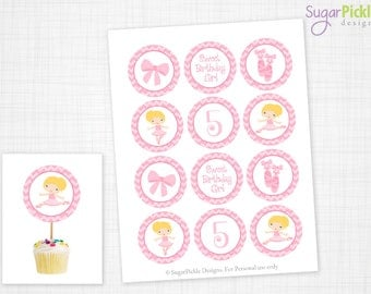 Ballet Cupcake Toppers, 5th Birthday, Ballet Birthday Toppers, Ballet Toppers, Ballet Party Decorations - 2.25 inch