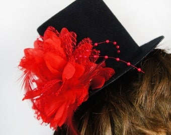 Black Mini Top Hat w/ Tropical Red Flower w/ Pearl Beads, Feathers, and Mesh Accent Floral Hair Clip Facinator