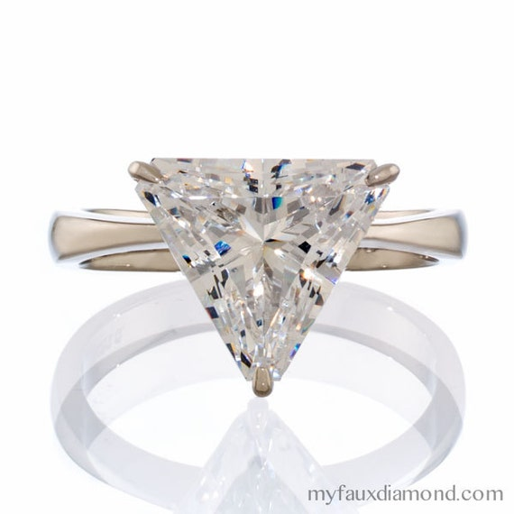 3 5 tcw triangle cut 5a cubic zirconia engagement by