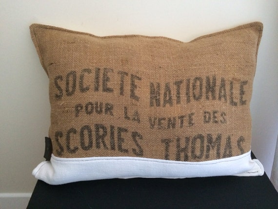 coussin d co industriel sac de m tier toile de jute chanvre. Black Bedroom Furniture Sets. Home Design Ideas