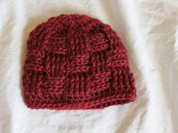 How To Make A Basket Weave Hat : Crochet basket weave hat burgundy size premie newborn