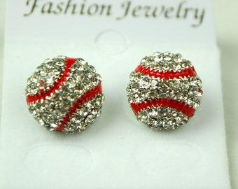 CLEAR Fastpitch Softball or Baseball Rhinestone Stud Earrings