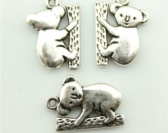 30pcs 20×14mm koala charms antique silver tone koala Pendant B10303