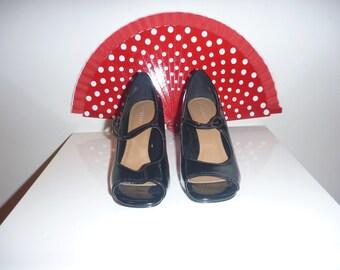Black Patent Peep Toe Shoes, Size 6.5