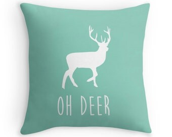 Oh Deer Decorative Pillow, Anter Pillow Cover, Minimalist Art, Rustic, Typography Pillow, Customizable