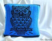 Owl Tekla -Handmade knitted decorative pillow / decorative pillow cushion /knit throw pillow cover/owl blue pillow/owl cushion cover